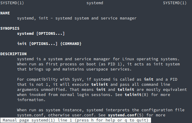 Manpage of Systemd